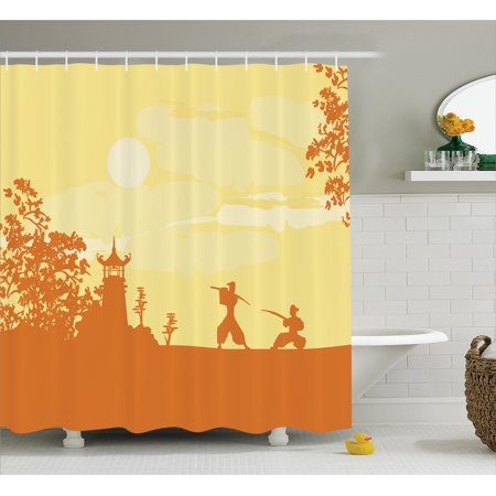 Japanese Decor Shower Curtain Set Silhouette Of Two Ninjas Fighting In Front Temple At Sunset Sakura Trees Pattern Bathroom Yellow Orange