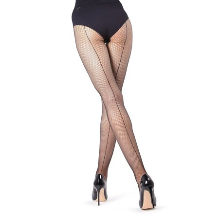 MeMoi Backseam Fishnet Tights- Nice Sexy Tights for Women by MeMoi Small/Medium / Black MO -