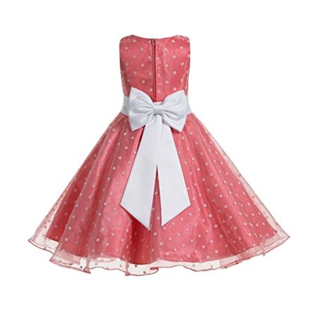 Pageant Polka Dot - Ekidsbridal Polka Dot V-Neck Organza Flower Girl Dresses Special Occasion Dress Girls Dresses Formal Recital Party Wedding Pageant Ball Gown 184t
