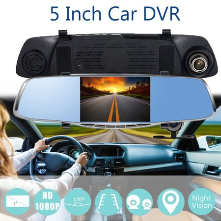 5'' 1080P Car DVR Dual Lens Camera Rear View Mirror Video Dash Cam Recorder Cam - image 1 of 5