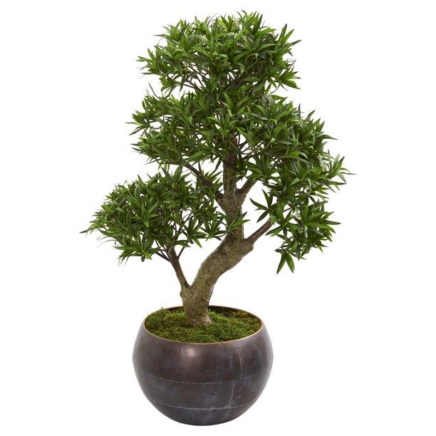 Nearly Natural 37 Podocarpus Artificial Bonsai Tree In Metal Bowl Walmart Com Walmart Com