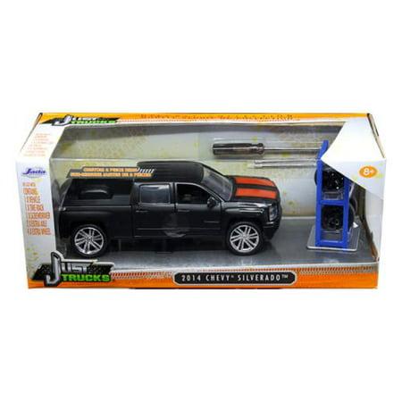 Chevrolet Truck Body - 2014 Chevrolet Silverado Pickup Truck Matt Black 'Just Trucks' with Extra Wheels 1/24 by Jada 97690