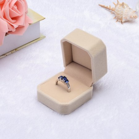 Velvet Engagement Wedding Earring Ring Pendant Jewelry Display Box Gift Beige