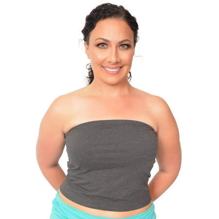 Plus Size Crop Tube Top - X-Large (12-14) / Charcoal (Plus Gravy)