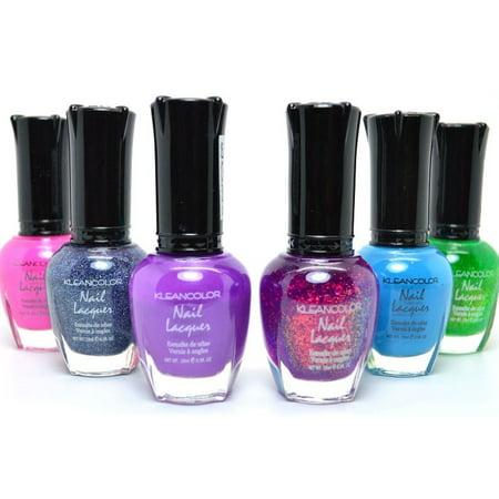 6 pcs Kleancolor Nail Polish Glitter Neon Purple Blue Green - Colors Match Royal Blue
