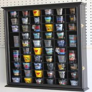 56 Shot Glass Shooter Display Case Holder Cabinet Wall Rack w/ Glass Door - BLACK Finish