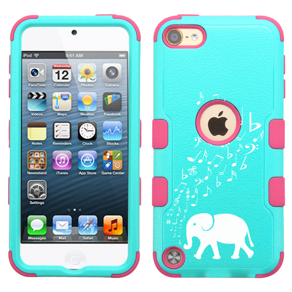 One Tough Shield ® 3-Layer Hybrid Case (Teal/Pink) for Apple iPod Touch 5 5th / 6 6th Generation - Elephant Music