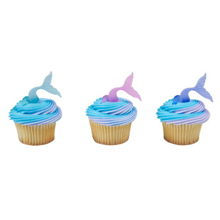 12 Mermaid Tail Wrap Cupcake Cake Rings Birthday Party Favors Cake Toppers](Little Mermaid 1st Birthday Party)