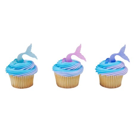 24 Mermaid Tail Wrap Cupcake Cake Rings Birthday Party Favors Cake Toppers - Tiara Cupcake Toppers