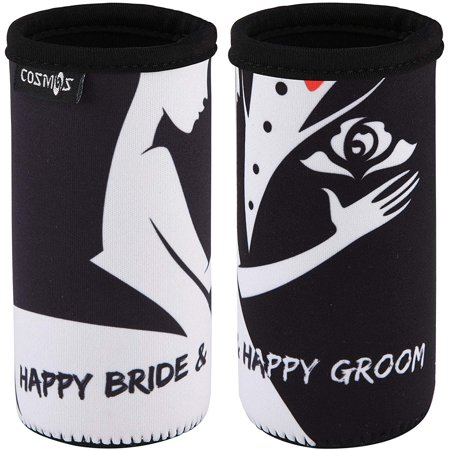 CM Soft Neoprene Slim Can Sleeves Insulators Slim Can Covers for 12 Fluid Ounce Energy Drink & Beer Cans for Wedding Party Wedding Gifts Engagement Decoration (Wedding Pattern B (2 Pcs))