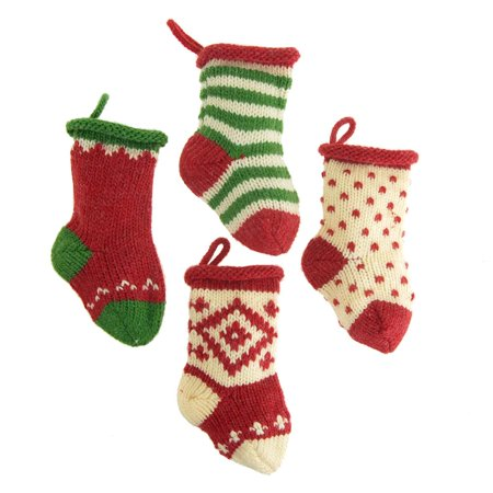 Small Knitted Yarn Christmas Stockings, Assorted, 5-Inch, 4-Piece - Small Christmas Stockings