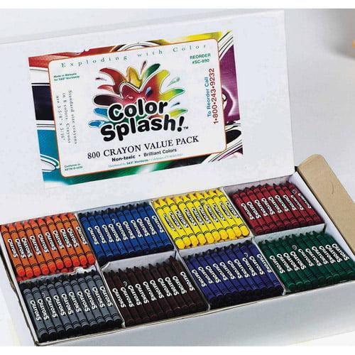 Color Splash! Crayons, 8 Colors, Box of 800