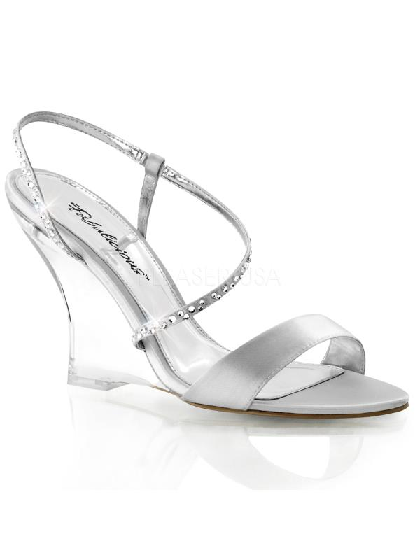 """LOV417/SSA/C Fabulicious Shoes 4"""" Lovely Sliver Satin/Clr Size: 11"""