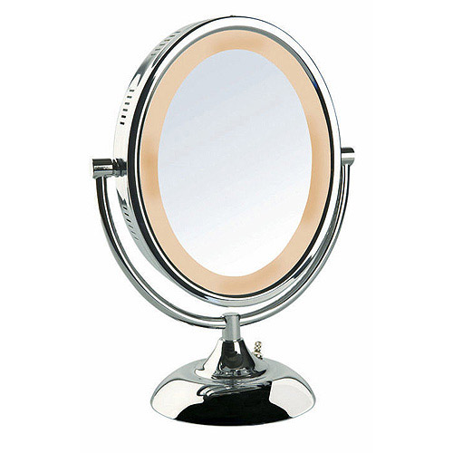 "Jerdon 8"" Tabletop 2-Sided Swivel Oval Halo-Lighted Vanity Mirror with 8x Magnification, 13.75"" Height, Chrome"