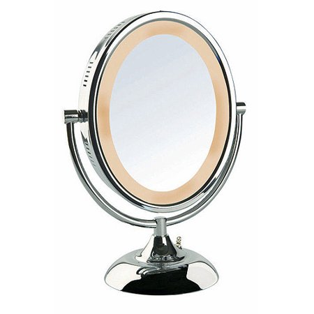 jerdon 8 tabletop 2 sided swivel oval halo lighted vanity mirror with 8x magnification. Black Bedroom Furniture Sets. Home Design Ideas