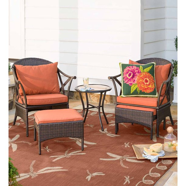 Wicker Patio 5 Piece Set With 2 Chairs, Outdoor Patio Set With Ottomans