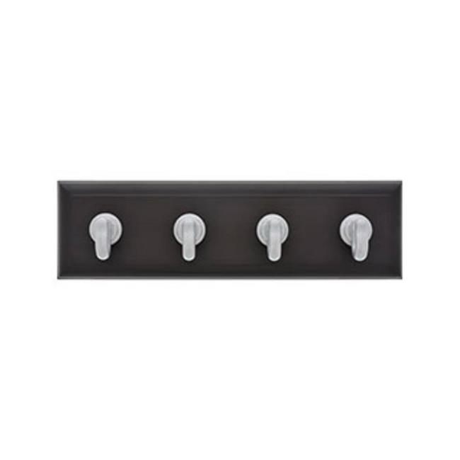 Medium Espresso and Silver 10LB Limit High /& Mighty 515813 Tool Free Key Rail with 4 Hooks