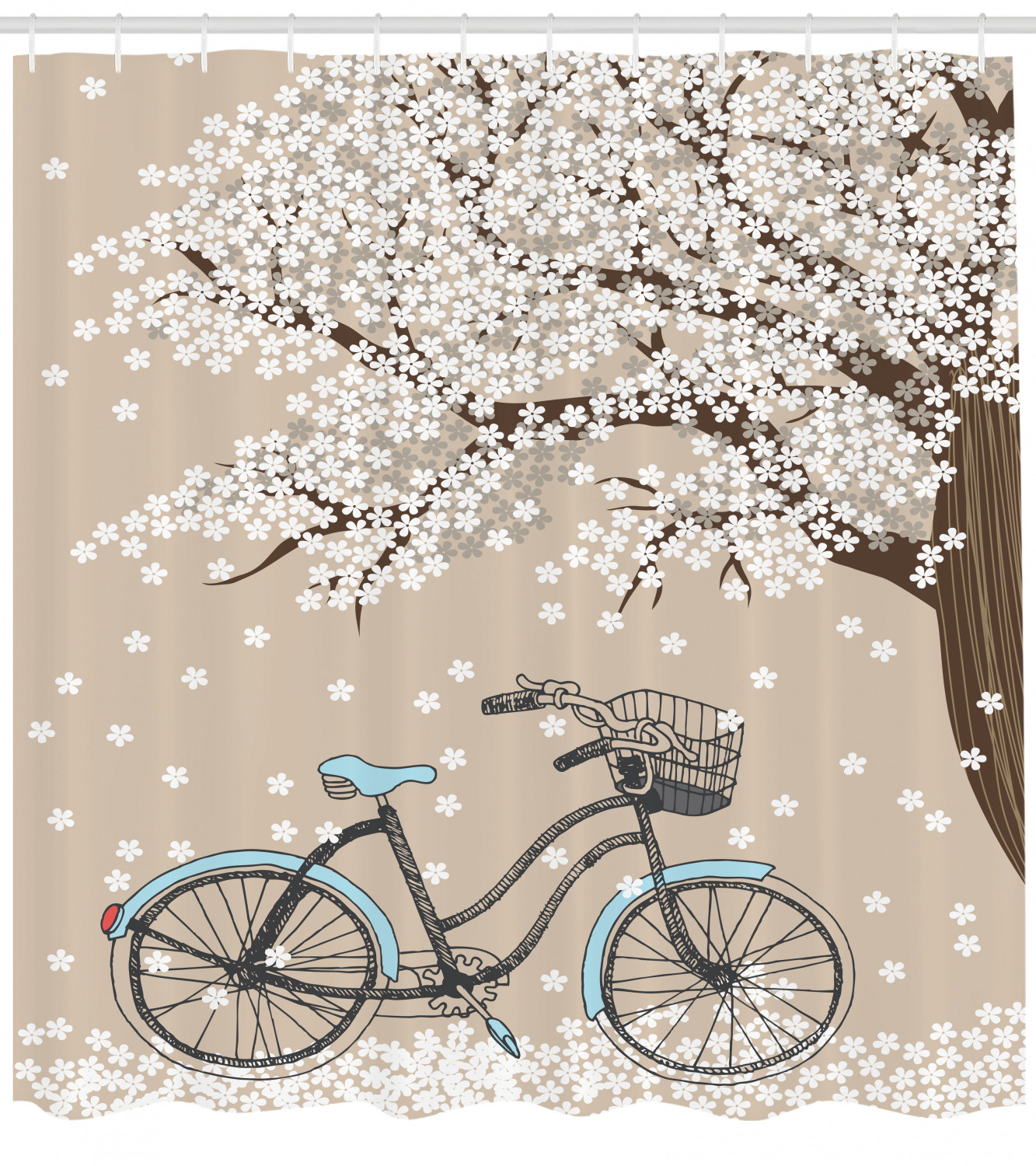 Bicycle Shower Curtain Blossoming Tree With Little White Flowers In The Spring And A Bike Sketch Artwork Fabric Bathroom Set With Hooks 69w X 70l