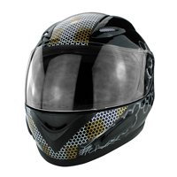Gloss Black Motorcycle Skid Lid Helmet with Flames DOT Approved