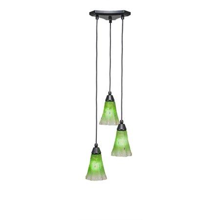 Europa Matte Black Three-Light Pendant with Kiwi Green Crystal Glass