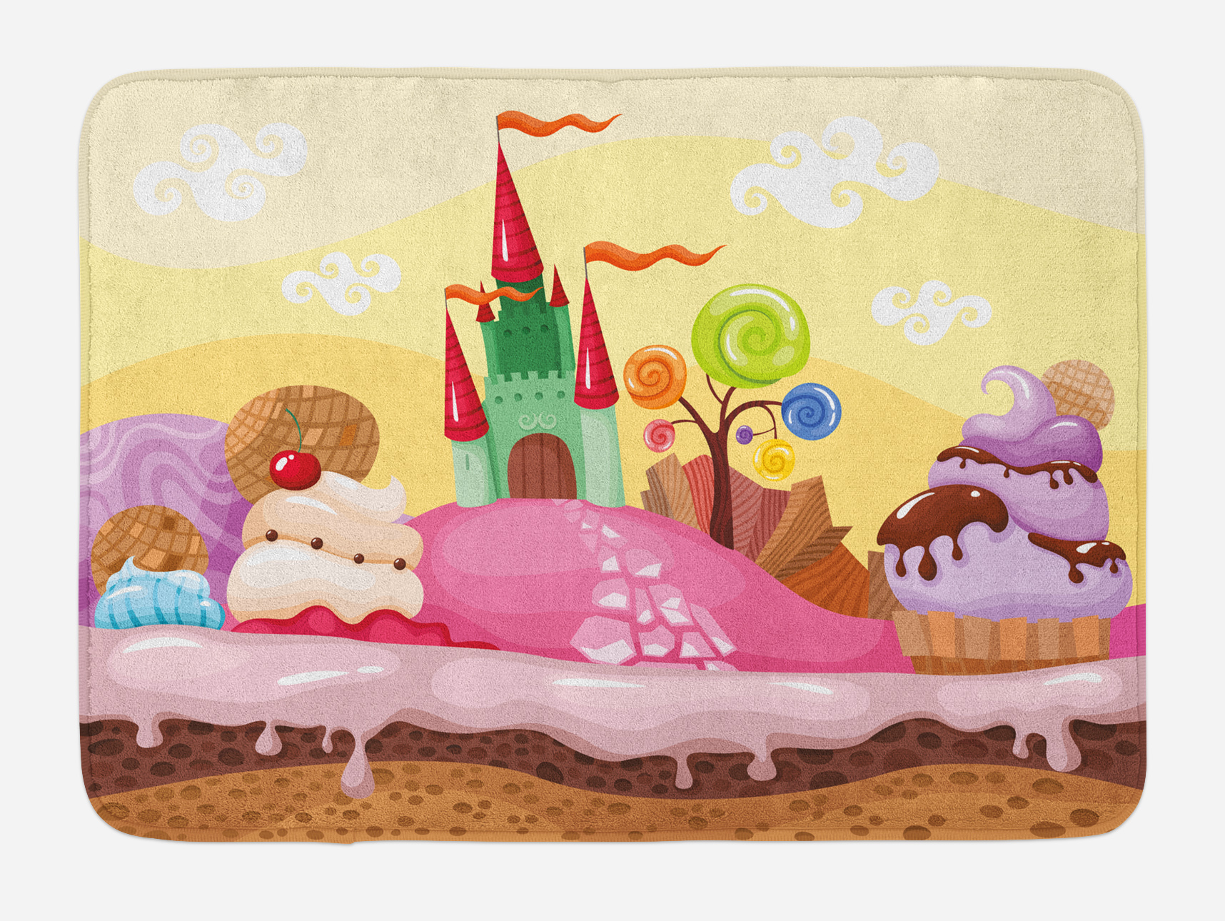 Cartoon Bath Mat, Kids Sweet Castle Landscape with Donuts Muffins Ice Cream Nursery IMage,... by 3decor llc