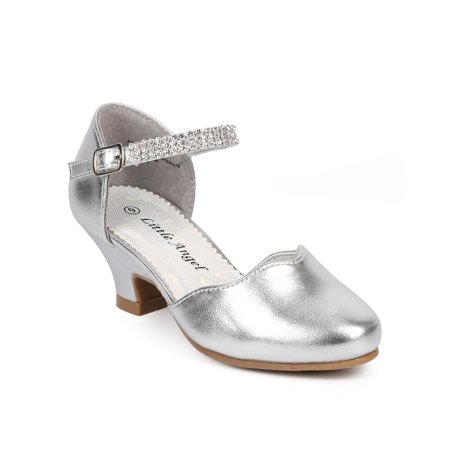 New Women Little Angel Daphne-855 Metallic Round Toe Rhinestone Mary Jane -