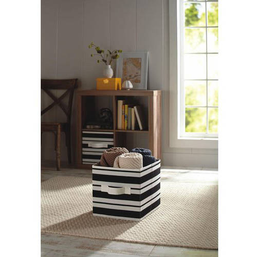Better Homes and Gardens Collapsible Fabric Storage Cube, Black Stripe