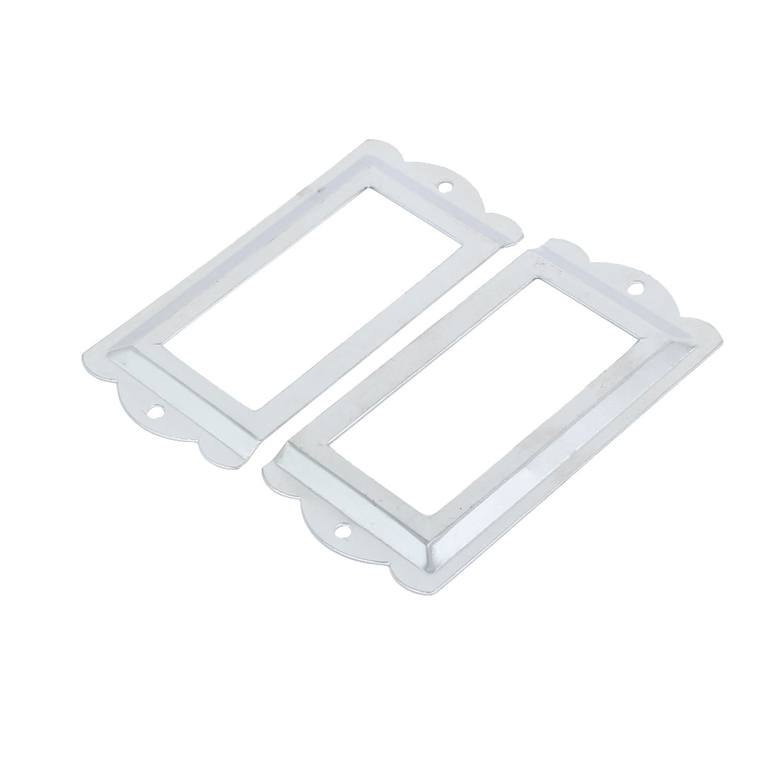 File Drawer Box Card Tag Label Holders Frames Silver Tone 85mm x 42mm 8PCS - image 1 of 4
