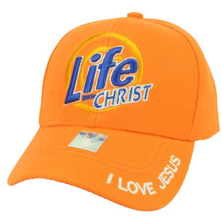 b31783c3d93 Life With Christ I Love Jesus Adjustable Hat Cap God Religion Believe Neon  Orange - Walmart.com