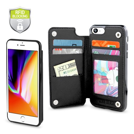 Gear Beast Genuine Leather iPhone 8 / 7 Wallet Case, Top View Flip Folio Case For iPhone 8 / 7 Slim Leather Cover 4 Slot Card Holder Including ID Holder With RFID Protection For Men and