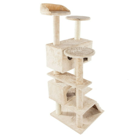 "52"" Cat Tree for Small Cat, SEGMART Multi-Level Cat Tower Luxury Condos with Scratching Posts, Slope, Solid Sisal Rope Plush Cat Climb Tower for Ragdoll, Oriental Cat, American Curl, Bengal Cat, S6732"