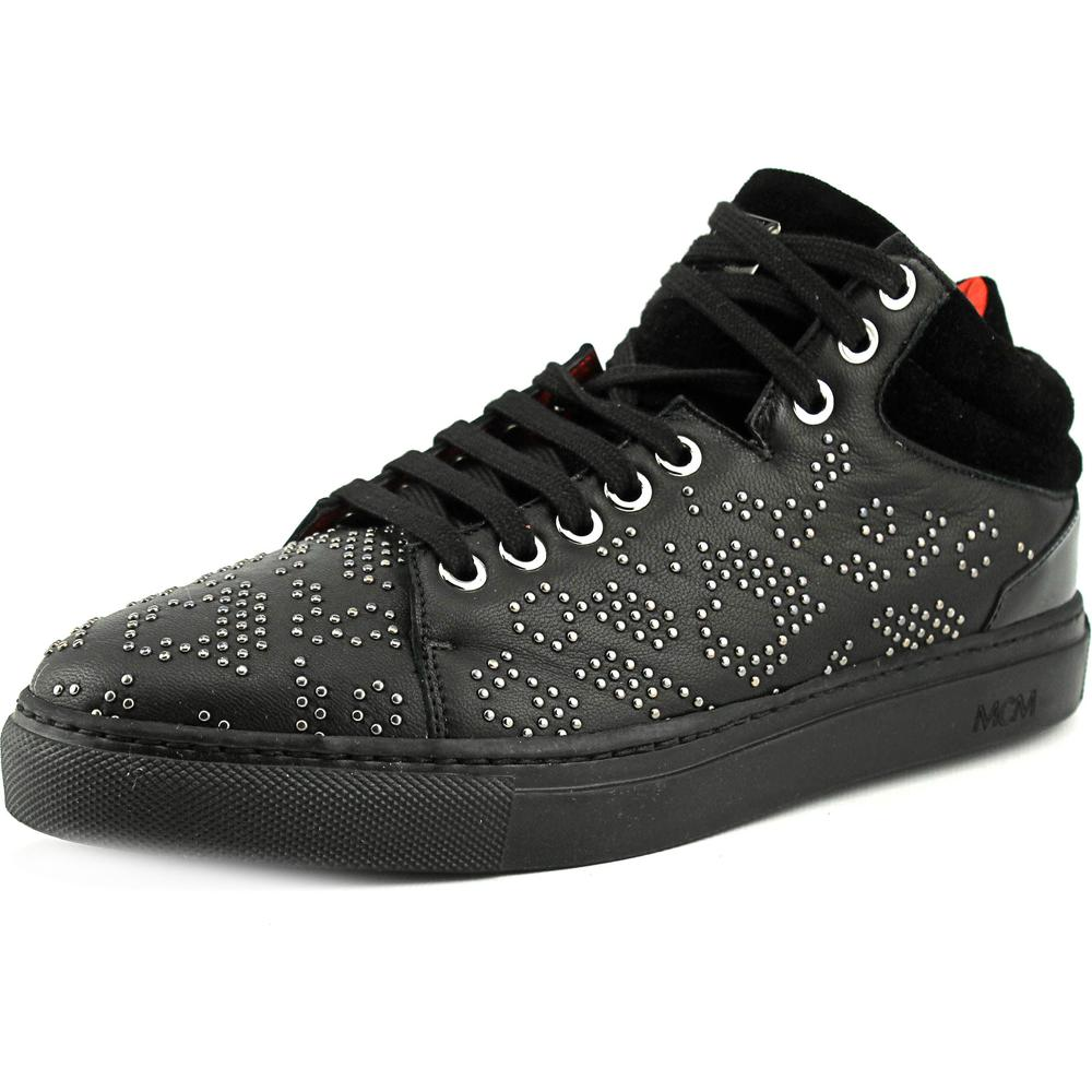 MCM Carryover Women  Round Toe Leather Black Sneakers