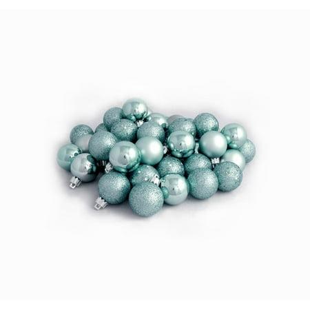 24ct Mermaid Blue 4-Finish Shatterproof Christmas Ball Ornaments 2.5