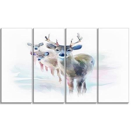 Design Art 'Beautiful Deer with Big Horns' 4 Piece Painting Print on Wrapped Canvas Set
