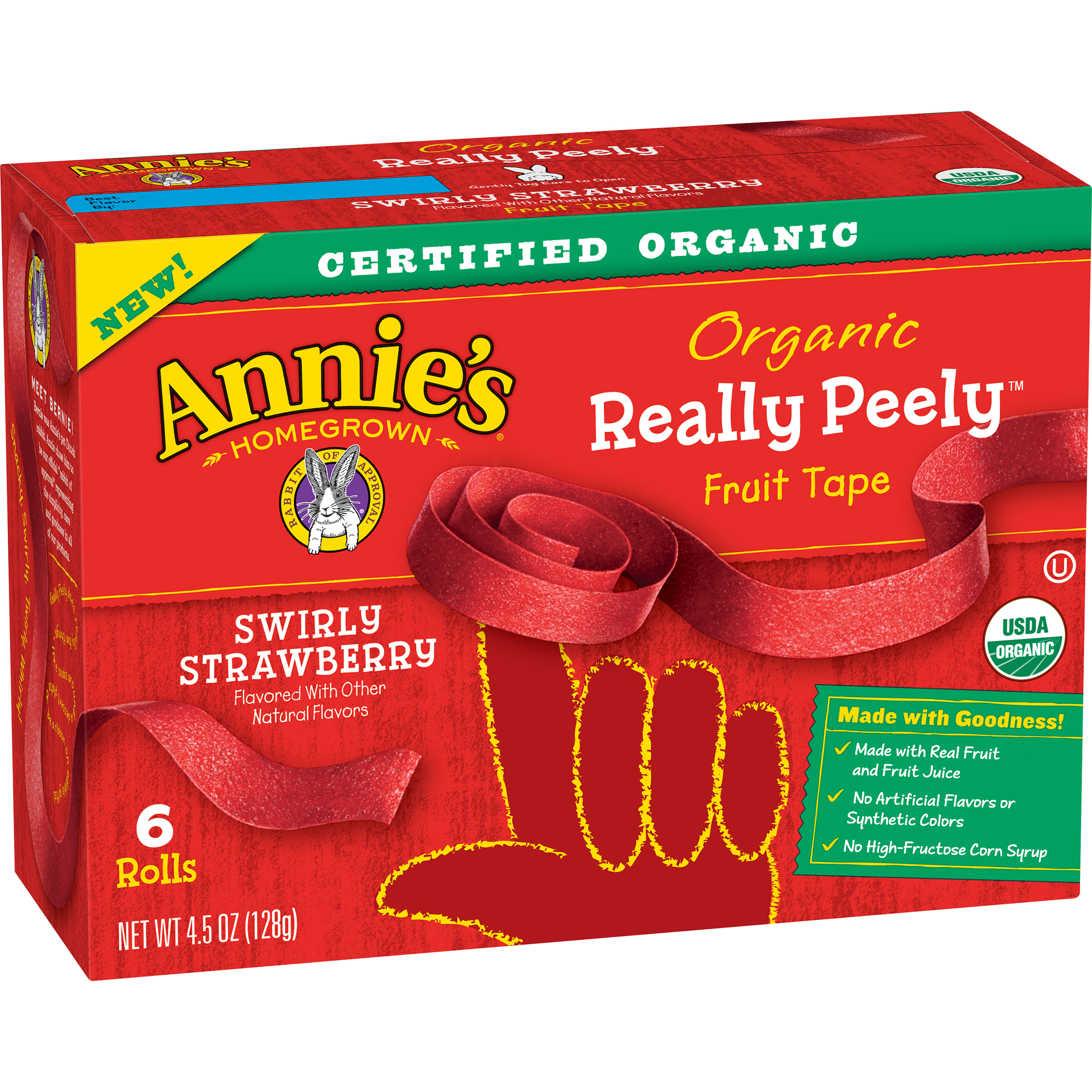 Annie's® Swirly Strawberry Organic Really Peely™ Fruit Tape 6 ct Box