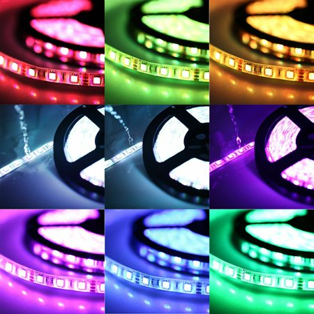 5M Waterproof Car Led Strip Light 3528Rgb Color Marquee With Controller Set Car Decoration Party Accessries - image 3 of 6