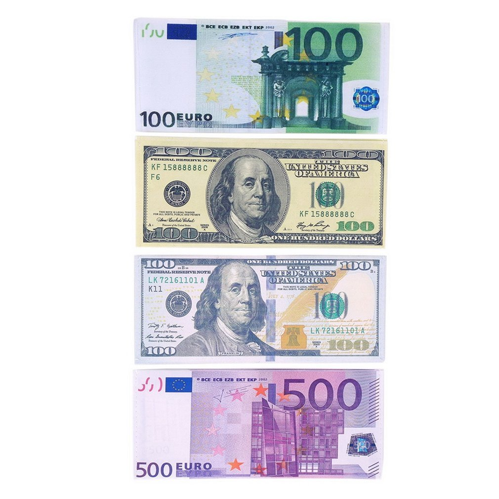 Currency Notes Pattern Pound Dollar Euro Purse Wallets Printed In Lifelike Full Colour With PU Leather Exterior Unisex