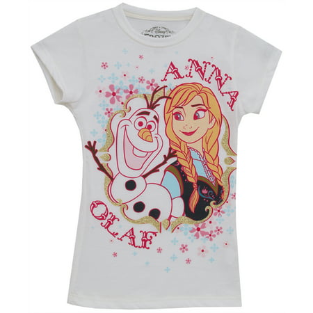 676aef462e261 Frozen Olaf and Anna Glitter Disney Animated Movie Juvenile Girls T-Shirt  Tee - image ...