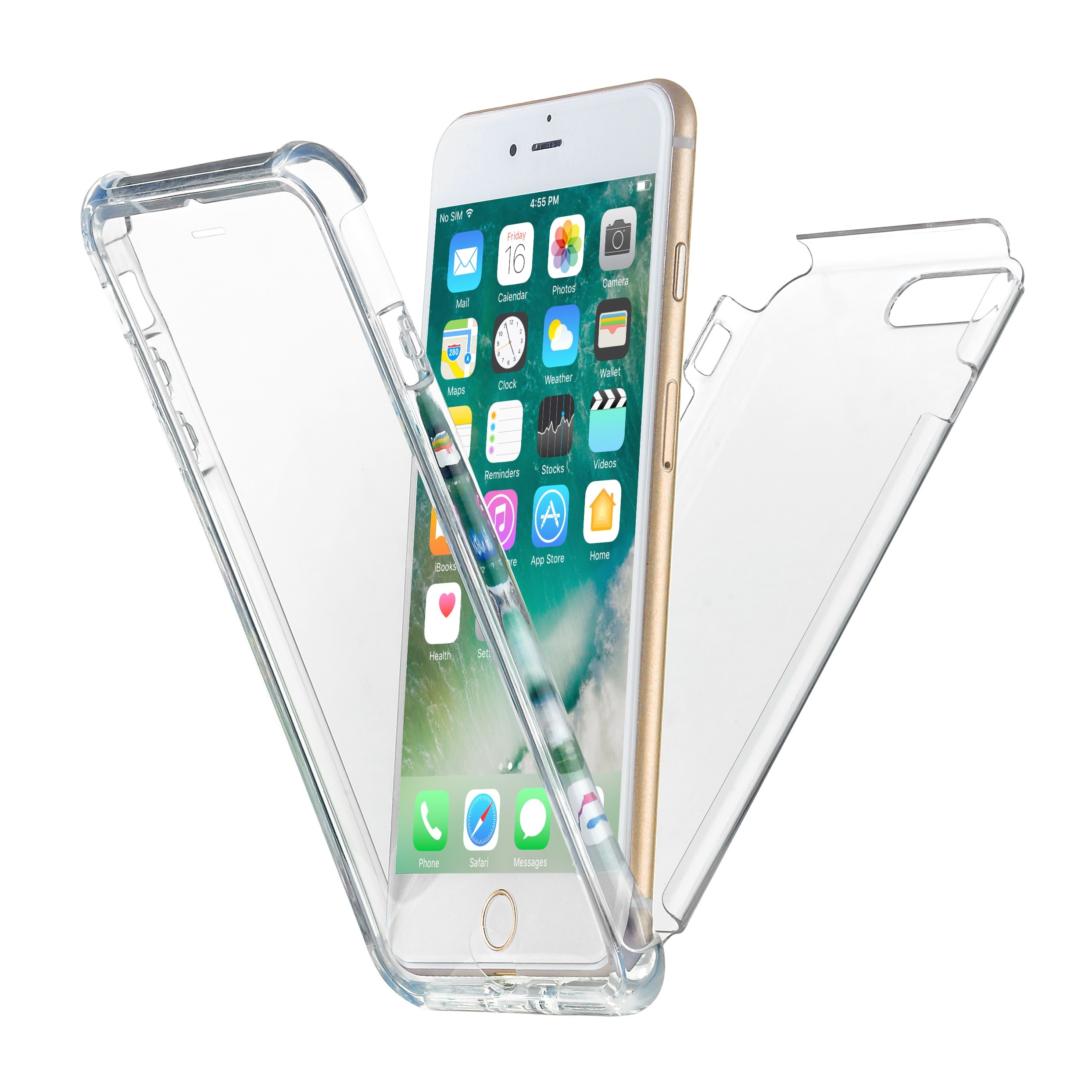iPhone 7 Plus Case, iPhone 8 Plus Case, New Trent eSobala 7P Light Weight Clear Transparent Case with Bumper Protection, Built-in Screen Protector for Apple iPhone 7 Plus & iPhone 8 Plus (5.5-Inch)