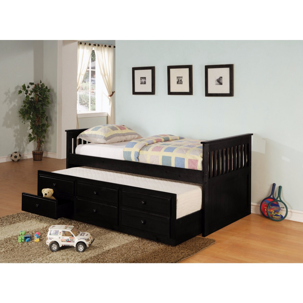 Sophisticated Daybed Bed with Trundle and Storage Drawers, Black
