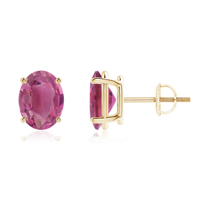 Mother's Day Jewelry Prong-Set Oval Solitaire Pink Tourmaline Stud Earrings in 14K Yellow Gold (9x7mm Pink Tourmaline)... by Angara.com