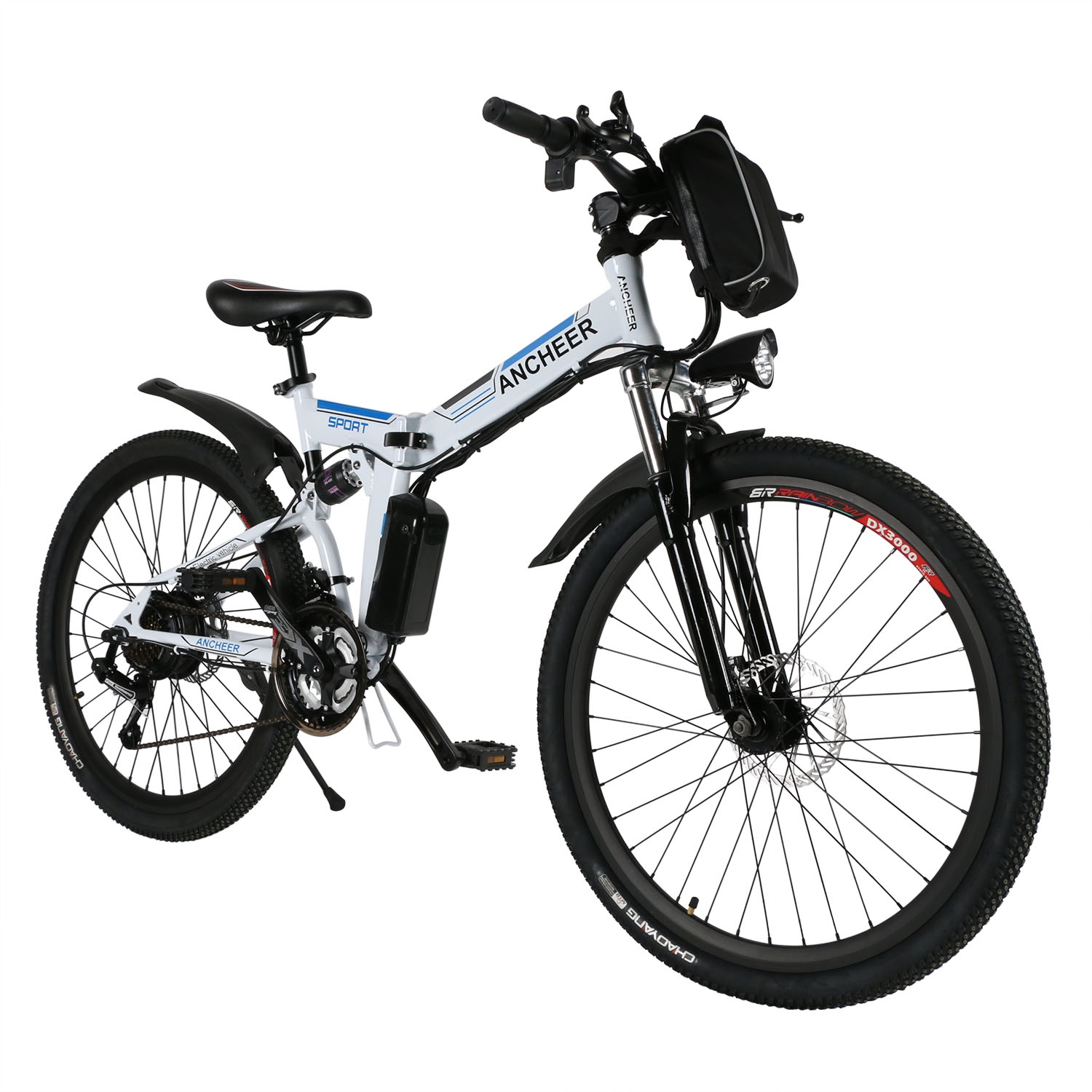 "Ancheer Foldable Electric Mountain Bike 26"" with 36V 8AH Large Capacity Lithium-Ion Battery, Electric Bicycle with 250W Brushless Motor, Premium Full Suspension and Shimano Gear"