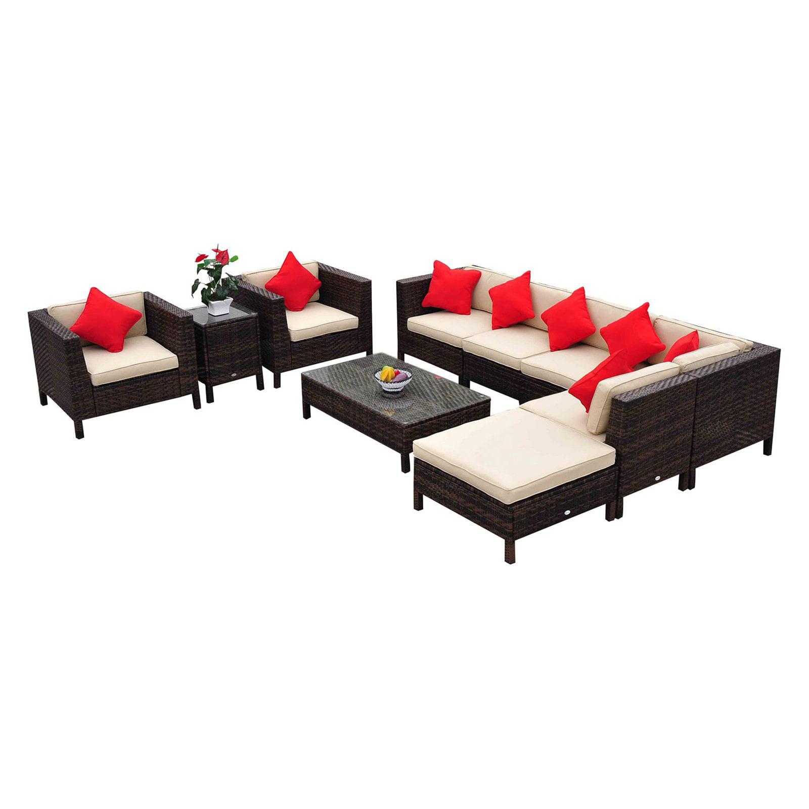 Outsunny 9 Piece Outdoor Rattan Wicker Sofa Sectional Patio Conversation Set