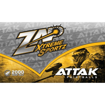 Zap Attak 2000ct Paintballs Green Shell, Yellow