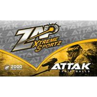 Zap Attak 2000ct Paintballs Green Shell, Yellow Fill