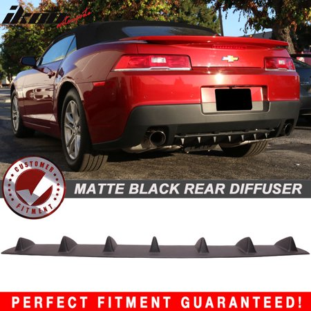 Diffuser Spoiler (Fits 14-15 Chevy Camaro V6 Rear Bumper Lip Diffuser Spoiler 7 Fin Matte Black)