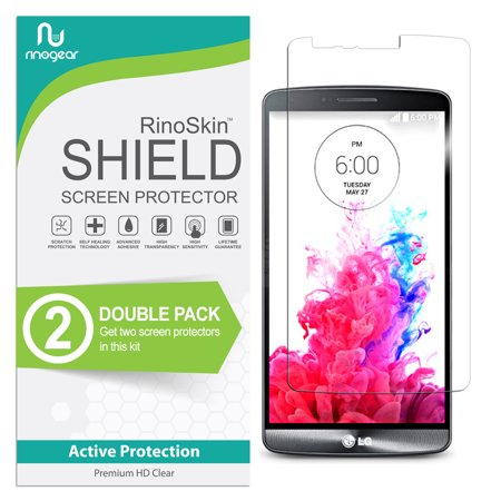(2-Pack) LG G3 Screen Protector RinoGear Flexible HD Invisible Clear Shield Anti-Bubble Unlimited Replacement Film (Lg G3 Replacement Screen Gold)