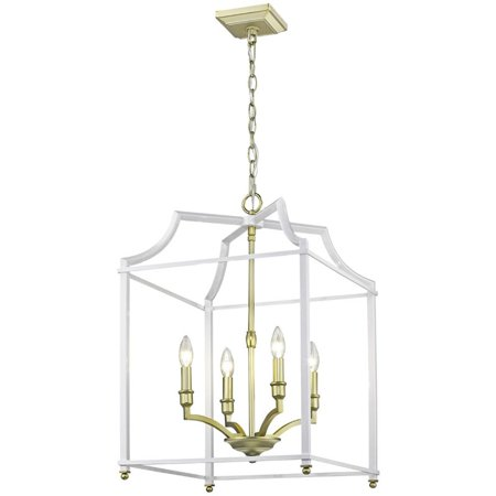 Beaumont Lane 4 Light Steel Cage Pendant in Satin Brass and White