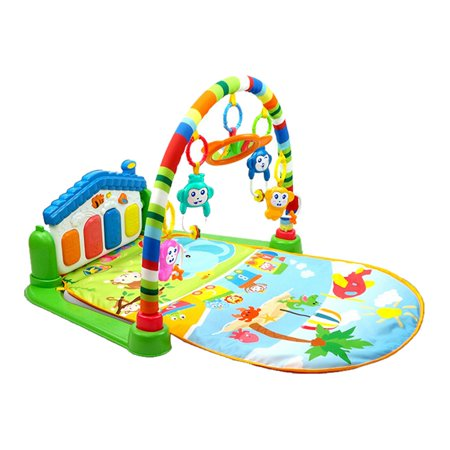 Multifunction Kids Crawling Mat Foot Funny Cabin Piano Music Infant Cartoon Cradle Toys Baby Gilrs&Boys Fitness Frame (Green)