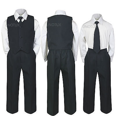 4pc INFANT BABY TODDLER TEEN BOY WEDDING FORMAL PARTY VEST SUIT BLACK sz S-20